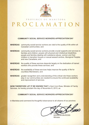 Community based social service workers appreciation day proclamation