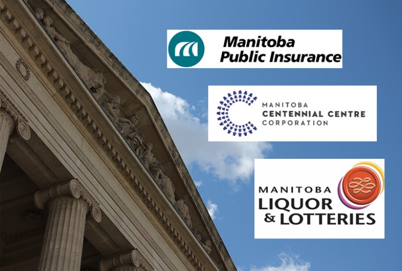 Manitoba legislative building with Crown Corp logos beside