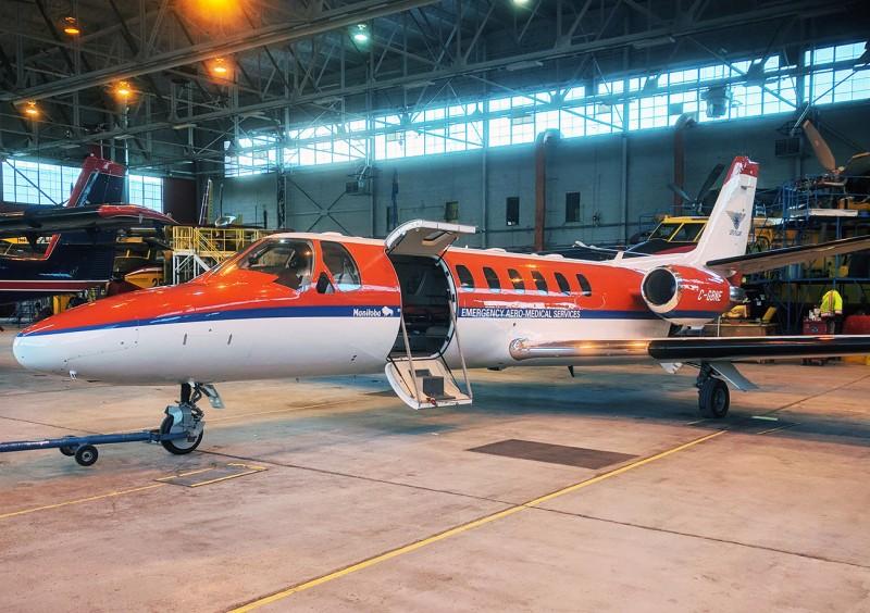 Lifeflight air ambulance in hangar