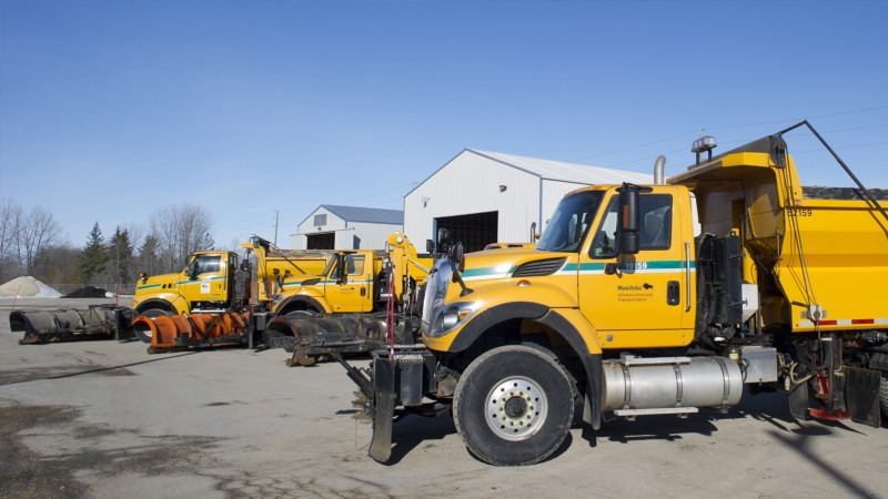 Manitoba snow clearing equipment in a highways yard