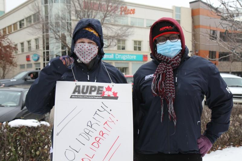 AUPE members on strike