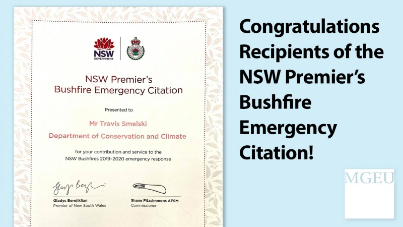 Congratulations recipients of NSW Premier's Bushfire Emergency Citation