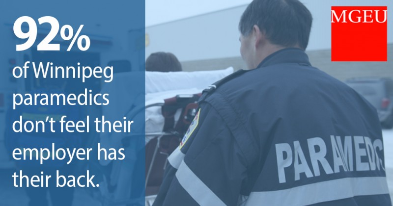 92% of WPG paramedics say the employer doesn't have their back